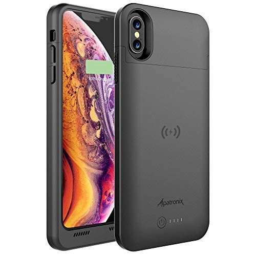 Alpatronix iPhone Xs/X Battery Case, 4200mAh Slim Portable Protective Extended Charger Cover with Qi Wireless Charging Compatible with iPhone Xs & iPhone X (5.8 inch) BXX - (Black)