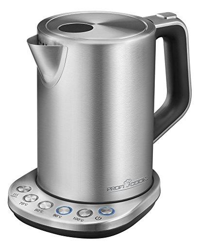 ProfiCook PC-WKS 1108 Edelstahl-Wasserkocher, 1,5 L, maximal 1850-2200 W, Wasserstandsanzeige, elektronische Temperatureinstellung, Warmhaltefunktion, inox