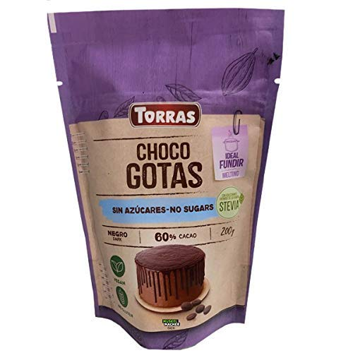 Torras Stevia Schoko Drops, 60% Kakaogehalt, Schokoladen Drops ohne Zucker, Aromapack 200g