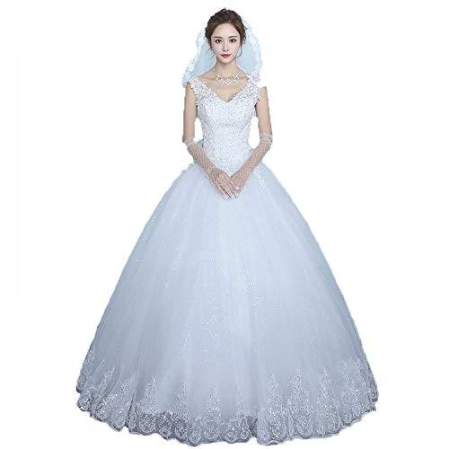 Bruidsjurk voor de bruid mouwloos kanten jurk met V-hals voor vrouwen bruiloft tule Applique bruidsjurk baljurk Quinceanera jurk formele avondjurk feestjurk bruidsjurk H