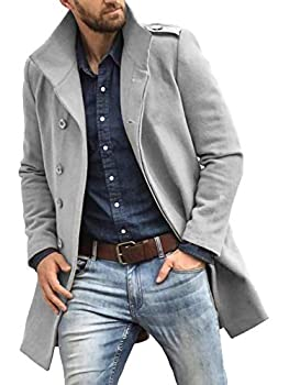 PASLTER Mens Classic Long Overcoat Single Breasted Trench Coat Winter Warm Long Pea Coat Jackets Grey
