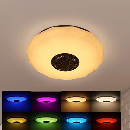 Lámpara de techo inteligente Música Altavoz Bluetooth APP/Control remoto Lámparas de techo regulables para pasillo, baño o cocina