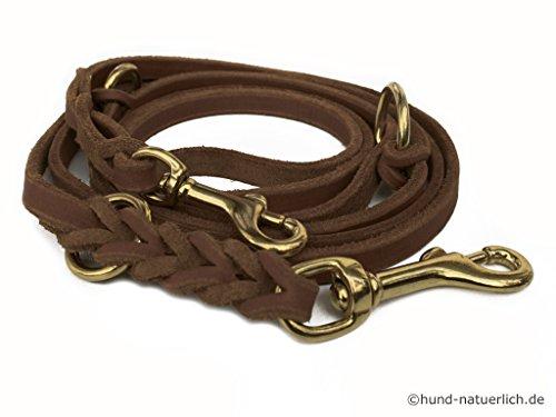 hund-natuerlich Lederleine braun aus Fettleder, Messing 3m verstellbar (3m x 12mm)