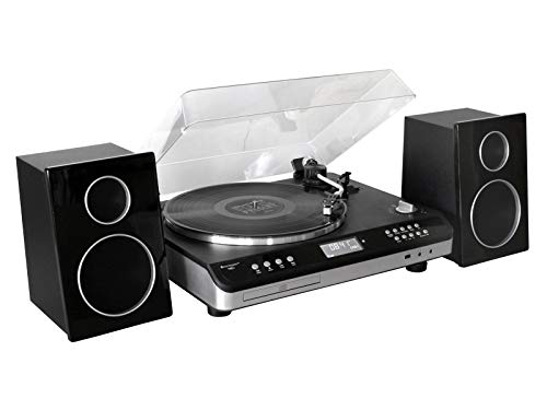 soundmaster Automatic Turntable Record Player HiFi System with Radio, CD Player, USB Encoding and 2 Way Bass Reflex Speakers (UK Plug)