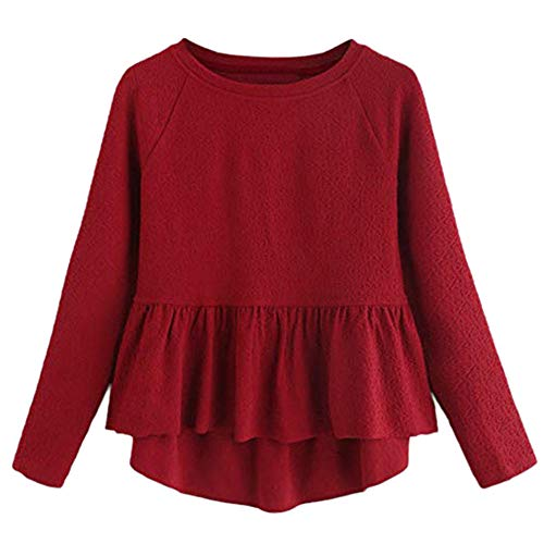 VJGOAL Mujer otoño e Invierno Moda Casual Color sólido y Pata de Gallo Suelta Cuello Redondo Manga Larga Dulce con Volantes Alto y bajo Top Blusa Superior(XX-Large,Rojo)