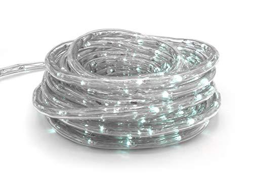 Tubo 240 LED luci di natale luce fredda con filo trasparente 10 Mt uso esterno. Luci natalizie per uso interno/esterno. Luci albero di Natale