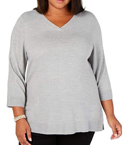 Karen Scott Womens Plus V-Neck Ribbed Pullover Sweater Gray 2X
