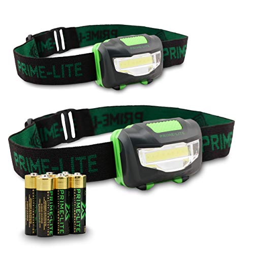 PrimeLite 2 Pack LED Headlamp Flashlight with Batteries  Headlamps for Adults  Head Flashlight for Kids  Head Lamp for Emergencies  Head Lamps Outdoor Used for Camping Running Gifts Hiking