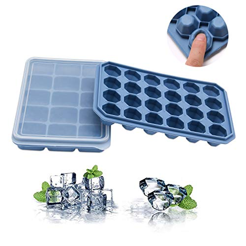 Ruili Life Silicone Ice Cube Tray with Covers 2 Packs, Easy Release and Spill-Resistant Removable with Cover,Stackable,BPA Free
