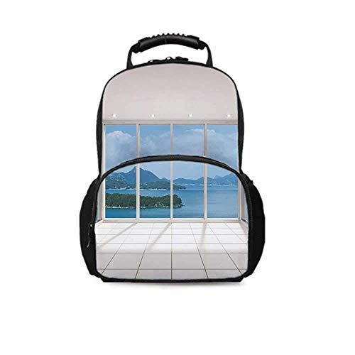 Backpack School Bag,Modern Lounge with Tiny Island Ocean Seascape Clouds Open Sky Image