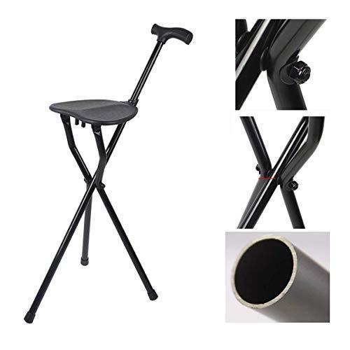 JJYP Faltbarer Leichter Gehstock Gehstock mit Sitz, dreibeiniger Krückenhocker bis 150 kg Ergonomischer Griff GummifüßeAluminiumlegierung für Wanderungen älterer Menschen