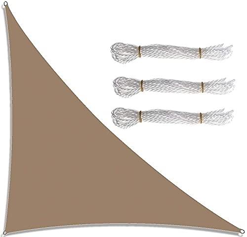 Triángulo de velas de sombra de jardín a prueba de agua 21 colores toldos de vela de sol de ángulo recto con 4 tamaños opcionales 3 cuerdas bloque UV toldo de vela de jardín al aire lib