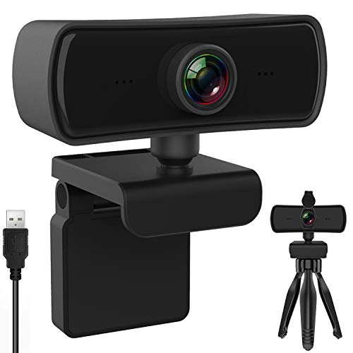 BENEWY Webcam mit Mikrofon,Upgrade Full HD 1080P Webcam, Streaming Webcam für Computer Widescreen-Videoanrufe und -Aufzeichnungen, USB Webcam Eingebautes Mikrofon, Flexibler Drehbarer Clip und Stativ
