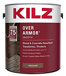 in budget affordable KILZ Over Armor Smooth Wood / Concrete Coating, 1 Gallon, Chocolate Brown