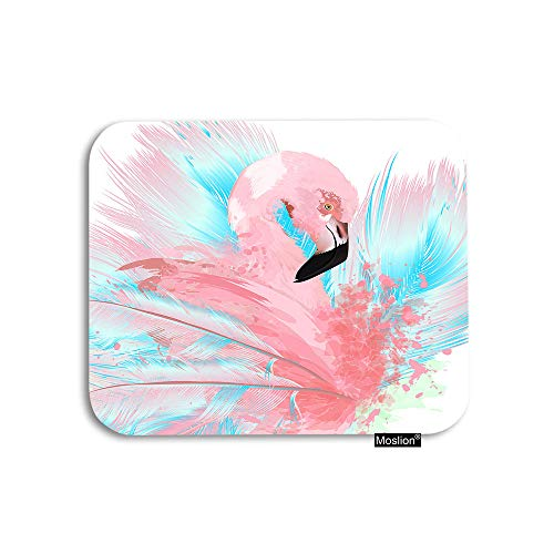 Moslion Flamingo Mouse Pad Tropical Bird Pink Flamingo with Blue Feathers Spots Floral Doodles Gaming Mouse Pad Rubber Large Mousepad for Computer Desk Laptop Office Work 7.9x9.5 Inch
