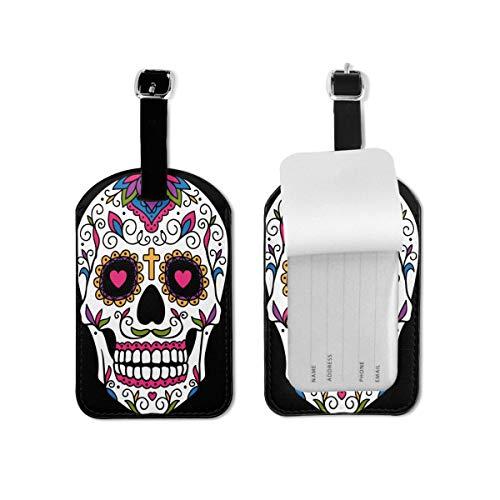 Etiqueta de equipaje de día de los muertos mexicanos con cráneo de azúcar de viaje etiqueta de identificación de cuero para maleta de equipaje para mujeres y hombres 1 pieza
