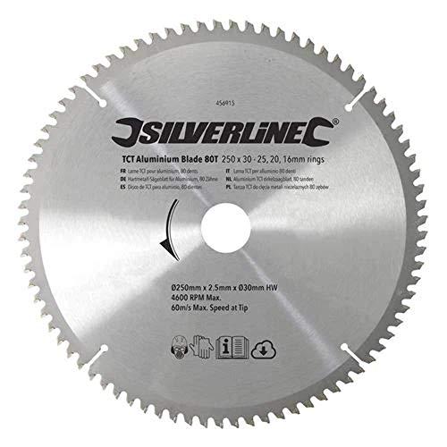 Silverline 456915 hardmetalen zaagblad voor aluminium, 80 tanden 250 x 30, verloopstukken: 25, 20 en 16 mm