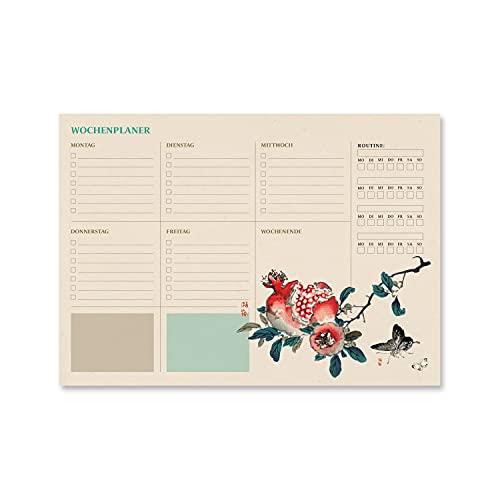 Bloc planificador semanal A4 Japanese - Organizador semanal - Planificador semanal - Planning escritorio │Planificador en alemán -Organizador semanal