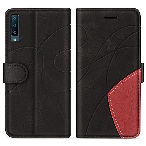 SUMIXON Hülle für Galaxy A7 2018, PU Leder Brieftasche Schutzhülle für Samsung Galaxy A7 2018, Kratzfestes Handyhülle mit Kartenfächern & Standfunktion, Schwarz