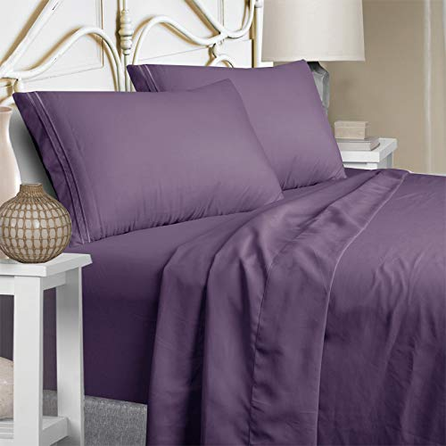 Mejoroom Bed Sheets Set,Extra Soft Luxury King Size Sheets with 15-inch Deep Pocket,Premium Bedding Collection - Breathable Wrinkle Fade Stain Resistant Hypoallergenic - 4 Piece (King, Purple)