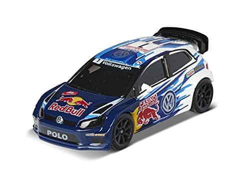 Majorette Racing VW Polo WRC Champion, Spielzeugauto, Freilauf, zu öffnende Teile, Federung, Sammelkarte, 7,5 cm, für Kinder ab 3 Jahren