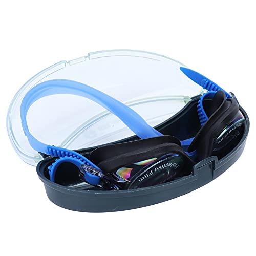 BOLORAMO Gafas de natación, Gafas de natación Diseño de Hebilla Trasera Gafas de Piscina con Estuche de Gafas Almohadillas de Silicona Arandelas de Silicona para Varias Formas faciales para la