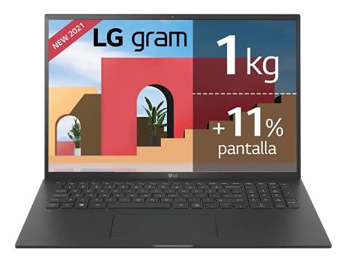 LG gram 17Z90P Windows 10 Home, Ultraligero de 43.2 cm (17') WQXGA 16:10 IPS (1.3 Kg, autonomía 15h, Intel EvoTM i7 11ª Gen., Iris Xe, 16GB RAM, 512GB SSD NVMe), Teclado Español, Negro