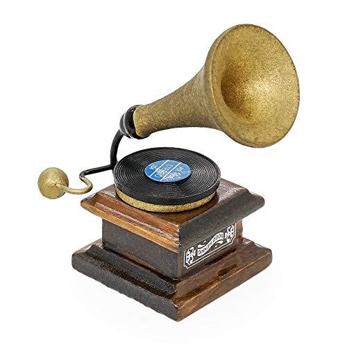 Odoria 1/12 Miniatura Antiguo Gramófono Fonógrafo Decorativo para Casa de Muñecas