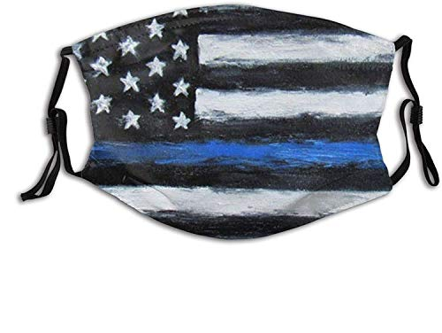 Thin Blue Line Us Flag Police-Face Mask Balaclava, Washable&Reusable with Filters, for Adult Women Men Teens-Police Flag 10-1 PCS
