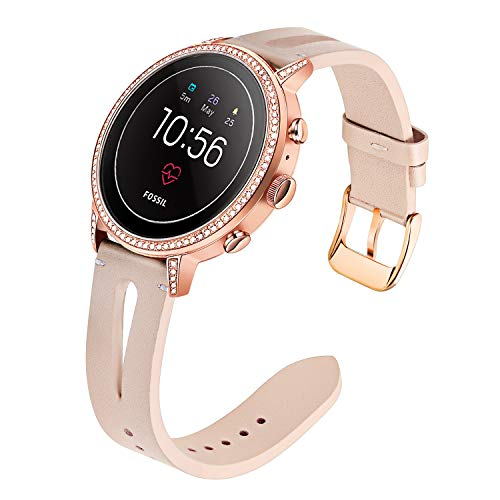 For Fossil Gen 4 Q Venture HR Women Bands, TRUMiRR 18mm Unique Genuine Leather Watchband Quick Release Strap Rose Gold Stainless Steel Clasp Bracelet for Fossil Gen 3 Q Venture LG Watch Style