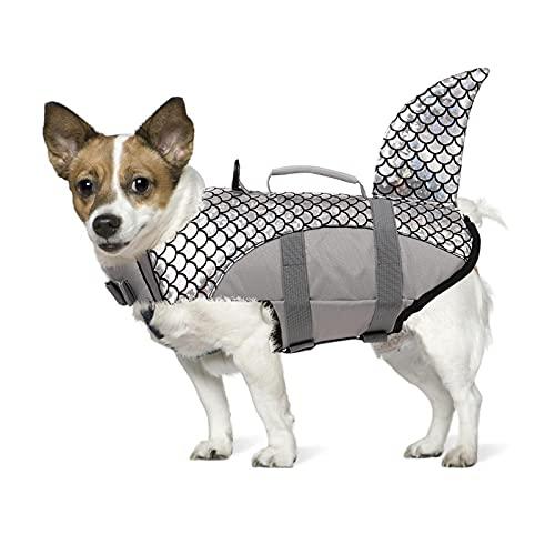 PUMYPOREITY Chaleco Salvavidas para Perros Mascotas Chaqueta Chaleco de Seguridad Perro Perrito Ropa de Baño para Perros pequeños, medianos, Grandes(Gris, M)