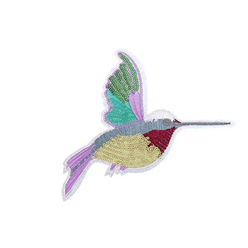 Vogel Kolibri mit Pailletten - Aufnäher, Bügelbild, Aufbügler, Applikationen, Patches, Flicken, zum aufbügeln, Größe: 18,8 x 14,7 cm