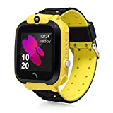 Kids Smart Watches, Waterproof LBS Tracker Phone Call for Boys Girls Digital Wrist Watch, Sport Smart Watch, Touch Screen Cellphone Camera Voice Chat Anti-Lost SOS Learning Toy for Kids Gift (Yellow)