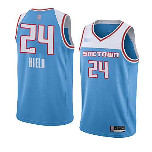 Jerseys De Baloncesto De Los Hombres, NBA Sacramento Kings # 24 Buddy Hield, Comfort Classic Comfort Vestidos Transpirables Camiseta Uniformes Deportivos Tops,Azul,XXL(185~195CM)