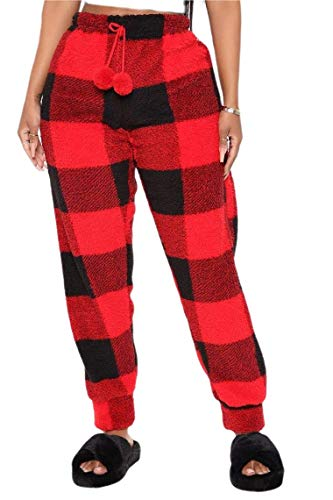 Women Christmas Plush Pajama Pants Ultra Soft Pajama Joggers Warm Plaid Pj Pants Fluffy Trousers (Xmas-Red, L)
