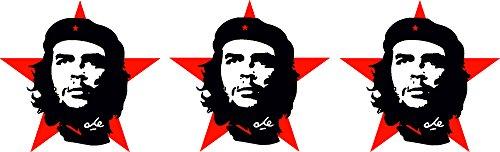 Etaia - 3X Mini - 5x5 cm - Auto Aufkleber Che Guevara roter Stern Revolution in Kuba Miniatur Sticker Motorrad Bike Fahrrad