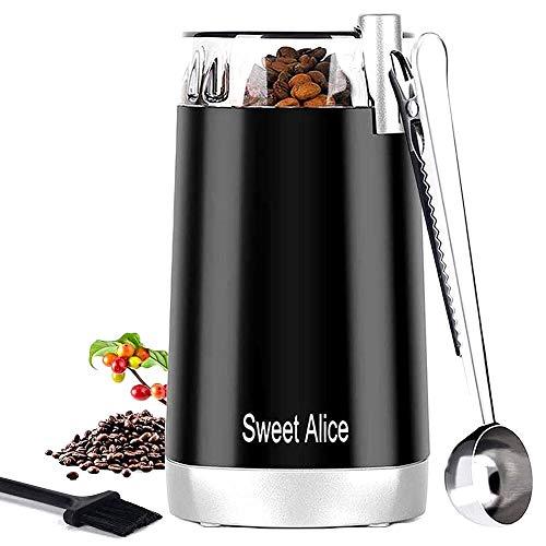Kaffeemühle für Spice Elektrische Kaffeemühle Klein Gewürzmühle Pfeffermühle Kaffeebohnen Nüsse Gewürze Getreide Mühle mit Edelstahl Schlagmesser 45g Fassungsvermögen 150W Geräuscharm Fein Mahlen