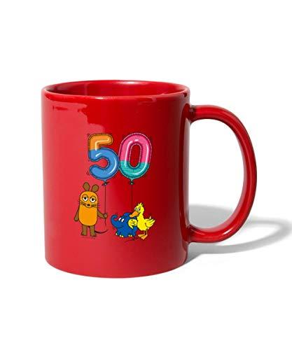 Die Sendung Mit Der Maus 50 Jahre Jubiläum Luftballons Tasse einfarbig, Rot