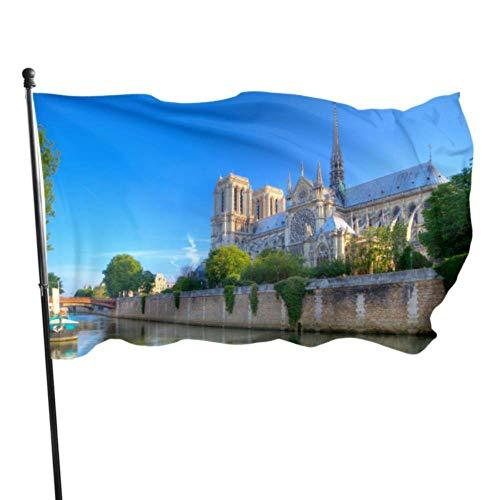 JDQP Belle Notre Dame De Paris Drapeaux Adultes Drôles Drôle Cour Drapeau 3x5 Pieds Couleurs Vibrantes Qualité Polyester et Oeillets en Laiton