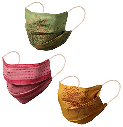Touchstone Indian Heritage Fabric from Assam Gesichtsmasken Filtertasche Wiederverwendbare, waschbare Baumwoll-Doppelschicht-Design für Frauen. (Packung mit 3 Stück). Senf Rosa Grün