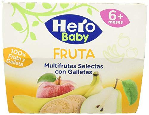 Hero Baby Fruta Tarrinas de Puré Multifrutas Selectas con Galletas para Bebés a partir de 4 meses Pack de 6 de 4x100 g