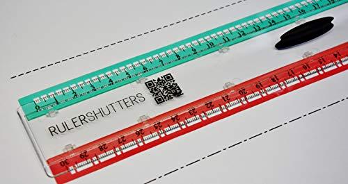 RULERSHUTTERS Lineal 30 cm, polycarbonat, Technische Zeichnung, Zeichnung des Architekten, Scrapbooking, Karten, Nähen