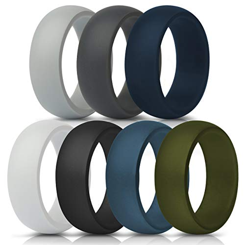 Silicone Wedding Ring For Men - 8.7mm Wide - 2.5mm Thick (Dark Grey, Light Grey, White, Black, Dark Teal, Dark Blue, Dark Olive Green - Size 13.5 - 14 (23mm))