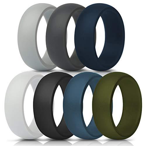 ThunderFit Silicone Wedding Ring for Men - 8.7mm Wide - 2.5mm Thick (Dark Grey, Light Grey, White, Black, Dark Teal, Dark Blue, Dark Olive Green - Size 12.5 - 13 (22.2mm))