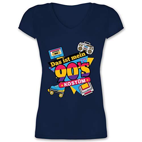 Karneval & Fasching - Das ist Mein 90er Jahre Kostüm - 3XL - Dunkelblau - Fasching Shirt 90er Damen - XO1525 - Damen T-Shirt mit V-Ausschnitt