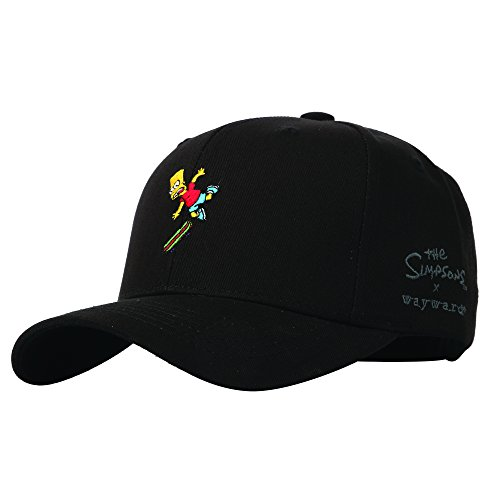 WITHMOONS Baseballmütze Mützen Caps Kappe The Simpsons Baseball Cap Bart Simpson Skateboard Hat HL1582 (Black)