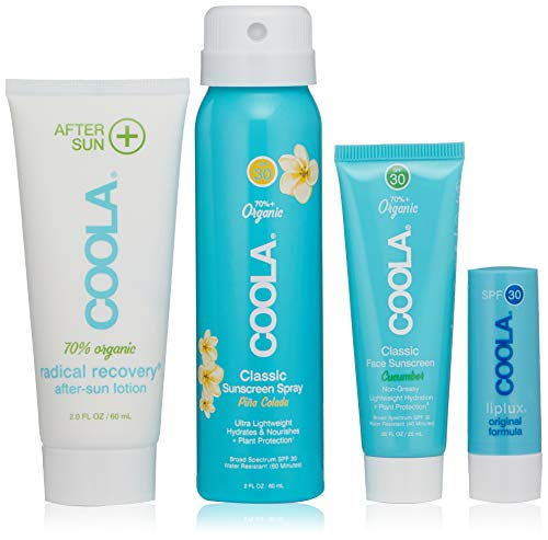 COOLA 4 Piece Sun Protection Kit, Body Sunscreen Spray, Face Sunscreen, After Sun Lotion & Lip Balm, Broad Spectrum SPF 30, Reef-Safe
