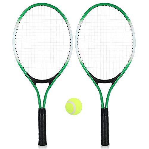 ZXCV - Raqueta de tenis para exteriores, 2 unidades, con pelota de tenis y funda, verde, L