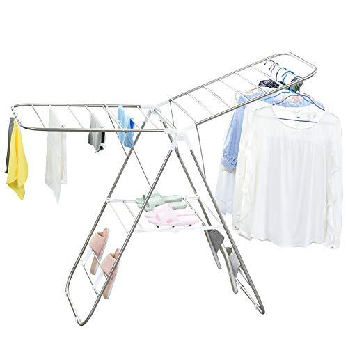 HOMCOM Faltbarer Wäscheständer, tragbarer Flügelwäschetrockner, Edelstahl, Kunststoff, Silber, Weiß, 146 x 60,5 x 98 cm