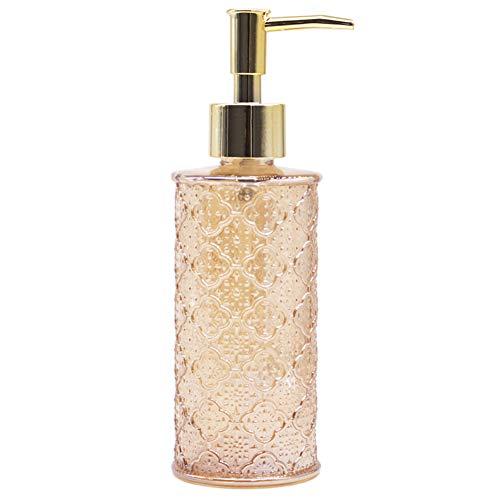 YunNasi Seifenspender Nachfüllbarer Flüssigseifen Spender aus Glas für Geschirrspülmittel Shampoo-Lotion Badezimmerarbeitsplatte Küche Waschküche (Golden)